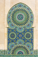Detail of Decors of Hassan II Mosque in Casablanca Morocco