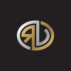 Initial letter RV, RU, looping line, ellipse shape logo, silver gold color on black background