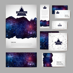 Document template with polygonal geometric space abstract background