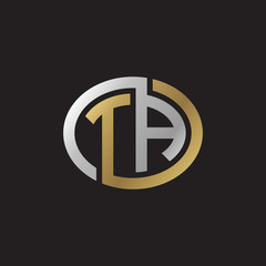 Initial letter TA, looping line, ellipse shape logo, silver gold color on black background