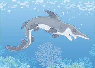 Scary deep-see goblin shark with an insidious smile swimming deep in a sea, vector illustration in a cartoon style