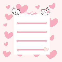 Cute cats memo, wallpaper, background