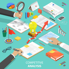 Flat isometric vector concept of competitive analysis, company marketing plan, competitors evaluating.