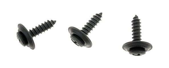 Top view of three black trim head screws isolated on a white background.