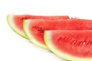 Sliced ripe watermelon on white background. Closeup of watermelon