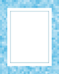 Blue pixel frame with blank white space for your text or images.