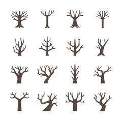 Dry tree icon set