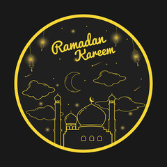 Ramadan Kareem Greeting Card with Line Art Illustration