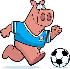 Cartoon Pig Soccer
