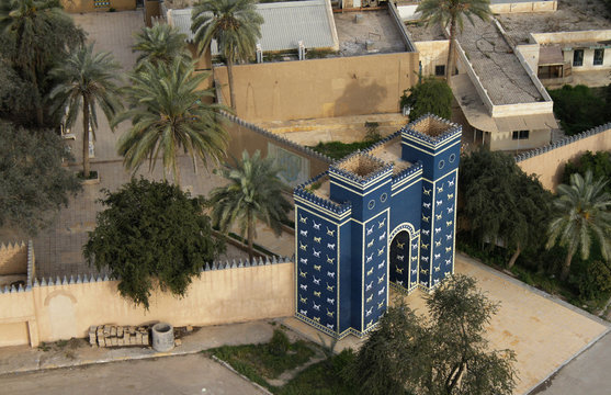Aerial view of the replica of the Ishtar gate at the entrance of Babylon, Iraq.