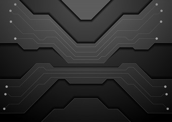Black circuit board technology abstract background
