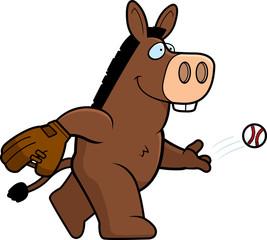 Cartoon Donkey Baseball