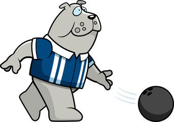 Cartoon Bulldog Bowling