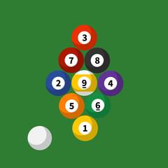 Billiard sport. Colorful billiard game balls. Vector stock.