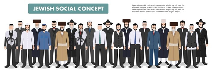 Family and social concept. Group adults old jewish men standing together in different traditional clothes in flat style. Old israel people. Differences Israelis in the national dress. Vector.