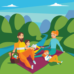 Family on picnic. Summer scene with hills and river, mom, dad, son reading and daughter eating apple. Square vector illustration