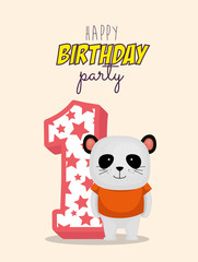 birthday card with candle number one vector illustration design