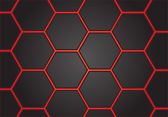 Abstract red line hexagon on gray design modern futuristic background vector illustration.