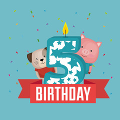birthday card with candle number five vector illustration design