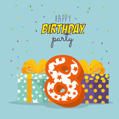 birthday card with candle number eight vector illustration design