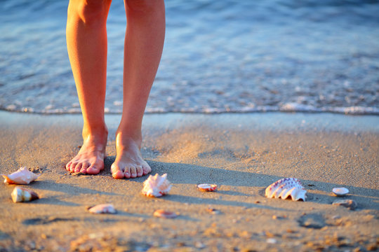 Seashells and woman feet in the sand on the sea beach