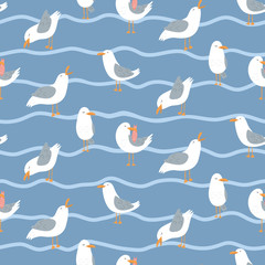 Seamless pattern with seagulls and waves. Cute cartoon seagulls on a coast. Summer vacation. Good for print.