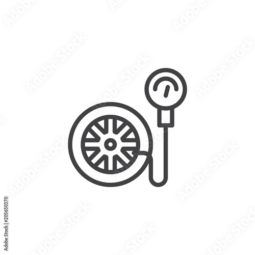 Tire Pressure Gauge Outline Icon Linear Style Sign For Mobile