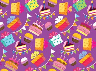 Happy birthday color vector pattern