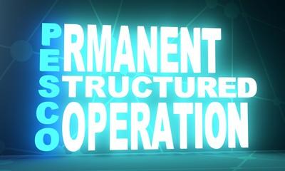 Acronym PESCO - Permanent Structured Cooperation. 3D rendering. Neon bulb illumination. Global teamwork