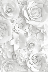 White paper flower wall, floral background, bridal bouquet, wedding card, greeting card template