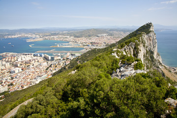 the rock of gibraltar with city