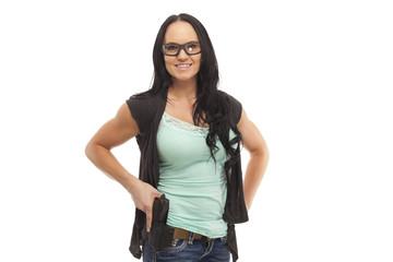 Female with handgun learning gun safety