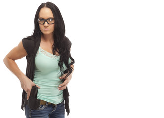 Gun Safety Woman holding handgun