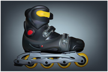 Roller skates on a gray background