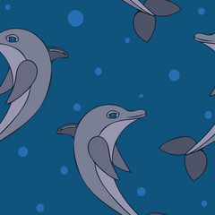 Seamless pttern with vector illustration of dolphin