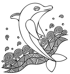 Vector illustration of dolphin jumping on the wave