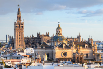 panoramic views of seville old town with giralda tower bell at background