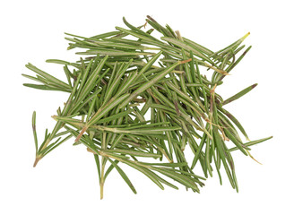 Top view of organic rosemary needles on a white background.