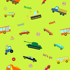 Vector cute kids auto car colorful cartoon seamless pattern on green background for decoration, gift wrap, scrapbooking, printing on fabric, banner, greeting card, sale, promotion, party. 10 eps