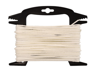 Top view of polypropylene rope on a plastic winder isolated on a white background.