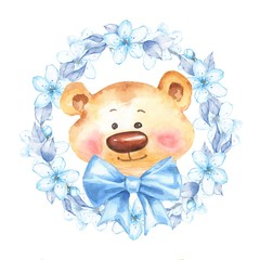 Teddy bear with floral frame. Watercolor illustration