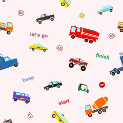 Vector cute kids car seamless pattern colorful cartoon style for gift wrap, scrapbooking, printing on fabric, decoration, banner, greeting card, sale, promotion, party poster. 10 eps