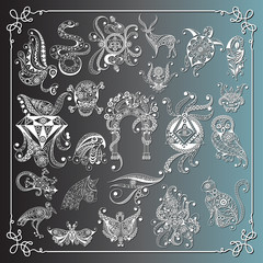 Graphical illustration with occult symbols_set 1