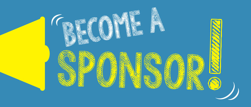 Become a Sponsor! with hand and megaphone.