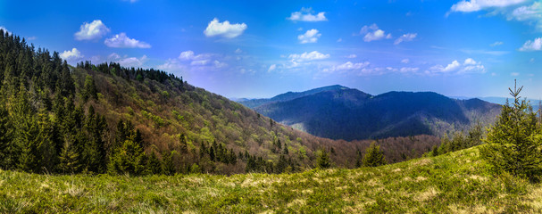 panorama of the Carpathian mountains, national park Skolevski beskidy, Lviv region of Western Ukraine
