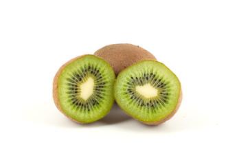 Fresh green kiwi isolated on white background