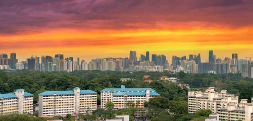 Singapore Housing Estate with City Skyline View