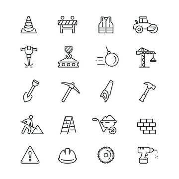 Construction related icons: thin vector icon set, black and white kit