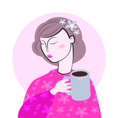 Cute girl in cozy sweaterdrinks hot tasty cups of tea. Vector tea party illustration