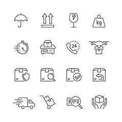 Shipping and delivery related icons: thin vector icon set, black and white kit